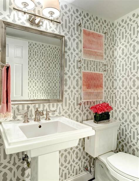 grey wallpaper powder room 20 practical pretty powder room decorating ideas