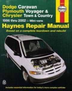 haynes dodge caravan plymouth voyager chrysler town country mini vans 1996 2002 repair manual