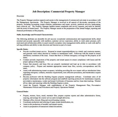 Assistant Property Manager Description by 10 Property Manager Description Templates Free Sle Exle Pdf Format