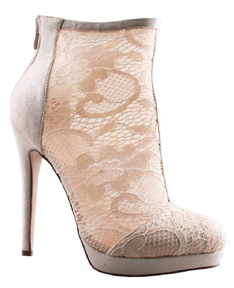 Bridal Bootie Shoes by Bootie Sheer Heels Bridal Wedding Lace Boots