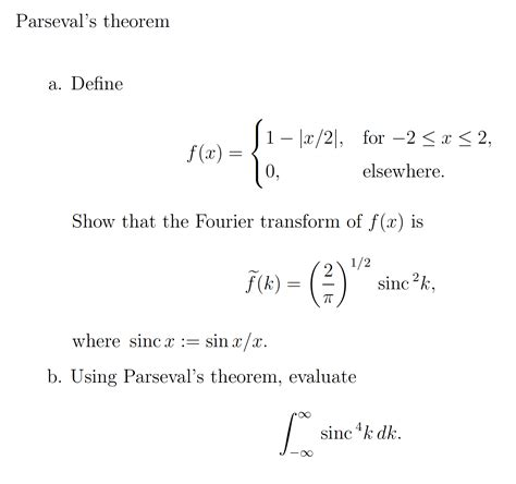 S 1 2 F X 1 F solved parseval s theorem define f x 1 x 2 for 2