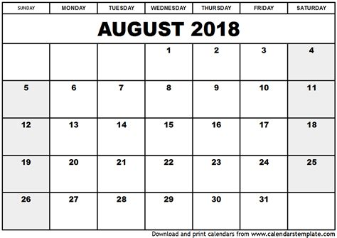 printable calendar july august 2018 august 2018 calendar template