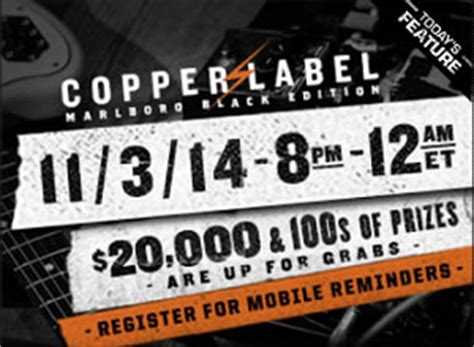 Marlboro Com Sweepstakes - marlboro copper label 4 hour sweepstakes at 8pm est 1 348 prizes i crave freebies
