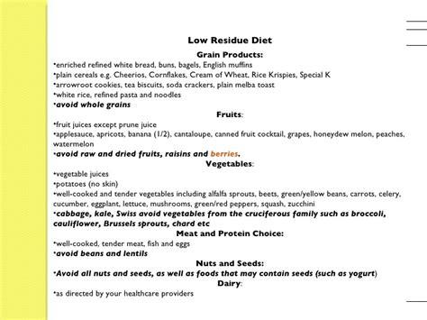low residue food low residue diet menu colonoscopy crgala
