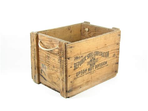 Wooden Crate by Vintage Wooden Crate Wood Box Rope Handles By Bridgewoodplace