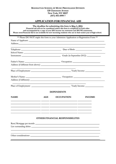 Application For Financial Aid Printable Pdf Download Investment Application Form Template