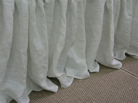 linen bed skirt king bed skirt in washed bright white linen 20 drop