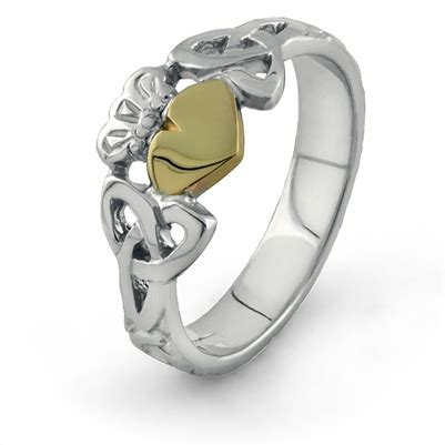 gold and silver ls silver and 10k gold claddagh ring ls clad36 mix