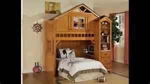 Bunk Bed Bedroom Set Tree House Style Rustic Oak Finish Wood Kids Loft Bed Bunk