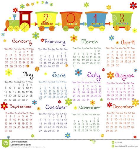 doodle calendar doodle calendar for 2013 royalty free stock images image