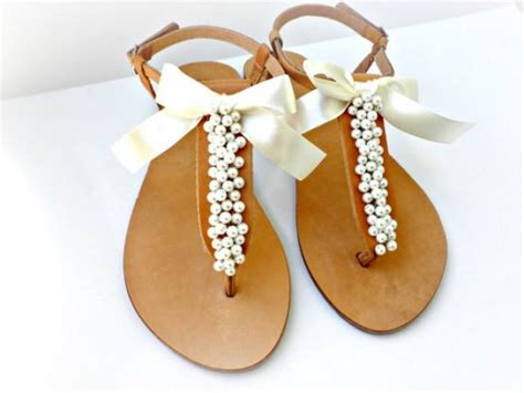 bridal sandals with pearls wedding sandals leather sandals decorated with