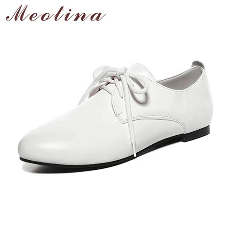 white flat pointed shoes meotina white shoes flats casual lace up flat shoes