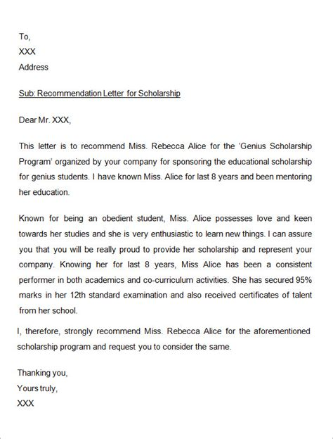 Reference Letter Scholarship sle letter of recommendation for scholarship 10 free