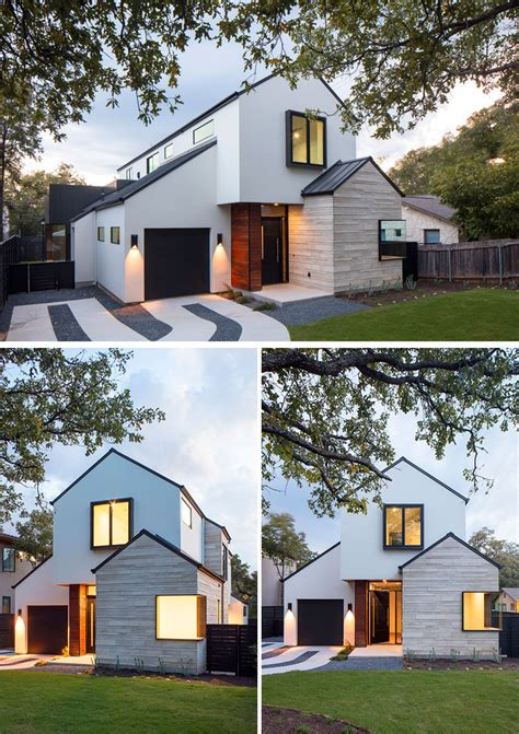 contemporary house  peaked roofs arrives