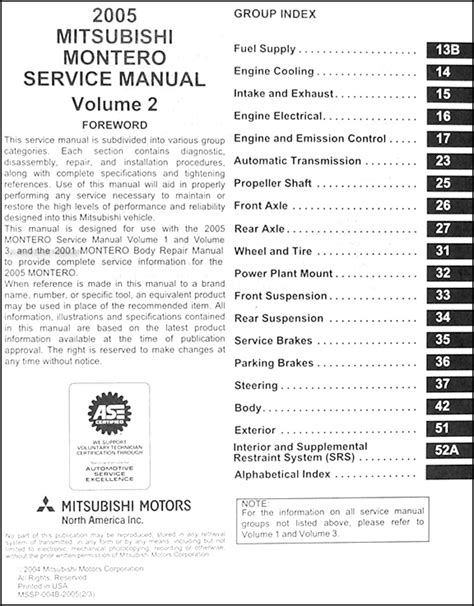 2005 mitsubishi montero service and repair manual servicemanualsrepair page 61 of 63