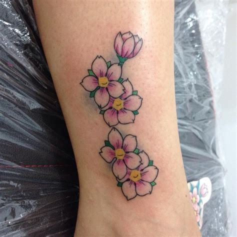 cherry blossom tattoo on side cherry blossom on side leg
