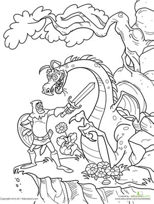coloring pages of knights and dragons knight and dragon worksheet education com