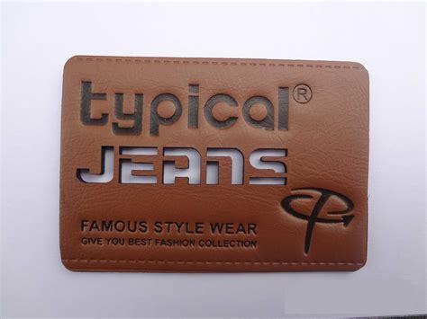 design label jeans china fashion denim pu leather label china fashion denim