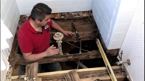 how to replace subfloor in bathroom how to repair a bathroom floor structure youtube
