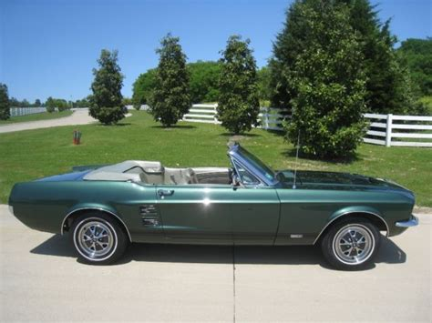 1967 Mustang Moss Green Convertible 289 V 8 Automatic Ps Pb Power Top For Sale 1967 Ford Mustang Convertible Gta V8 Auto For Sale In Dallas United States
