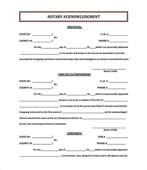 notary form template 9 sle notary statements free sle exle format