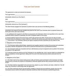 9 lawn service contract templates free word pdf