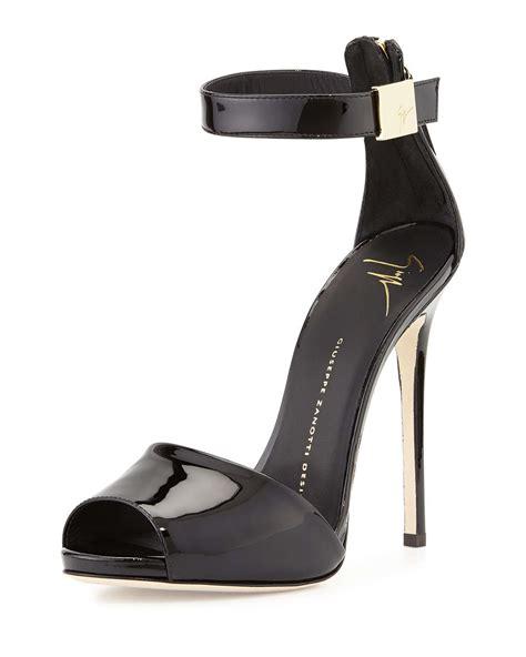 black ankle sandal lyst giuseppe zanotti patent ankle sandals in black