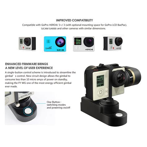 Gopro Di Luar Negeri feiyu fy wg 3 axis wearable gimbal stabilizer for gopro 3 3 4 sjcam sj4000 and similar