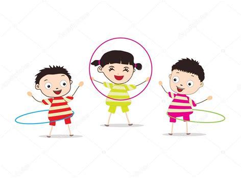 imagenes de niños jugando hula hula ni 241 os jugando hula hoop archivo im 225 genes vectoriales