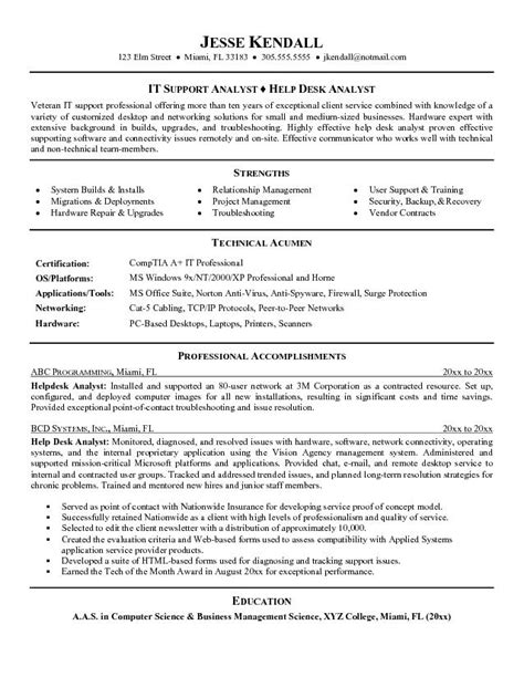 exle help desk analyst resume sle