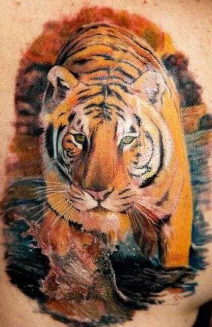 Walking 3D Realistic Tiger Face Tattoo Design For Back Realistic Tiger Makeup