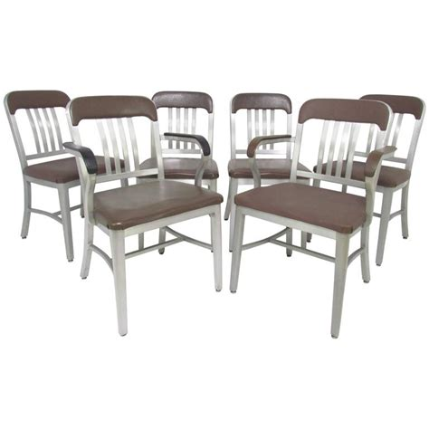 Navy Dining Chairs by Set Of Six Goodform Industrial Aluminum Quot Navy Quot Dining