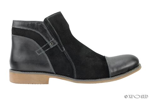 mens black brown suede real leather italian style side zip