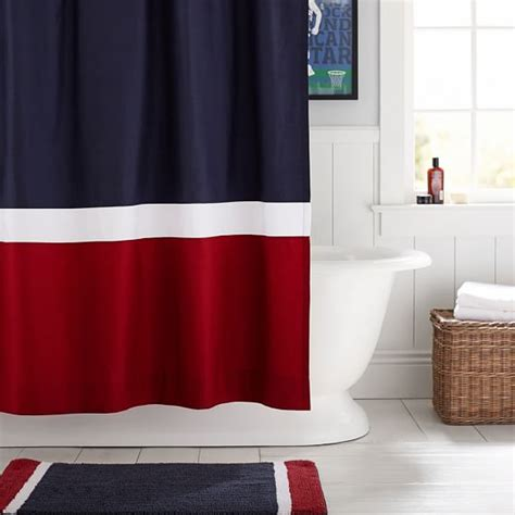 shower curtains red color block shower curtain navy red pbteen