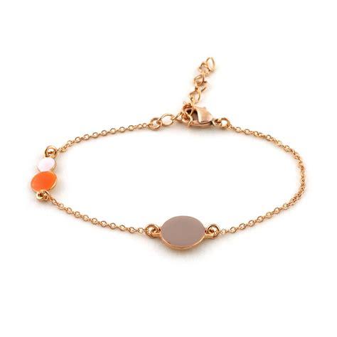 Bracelet chaîne dorée or rose, émail pastel   Little Woman Paris   bracelets   Les créateurs de