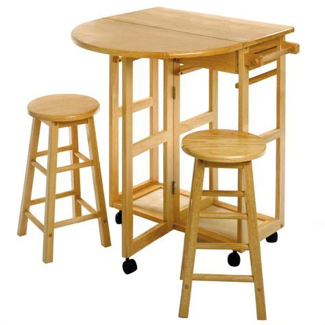 Space Saver, Drop Leaf Table with 2 Round Stools   OJCommerce