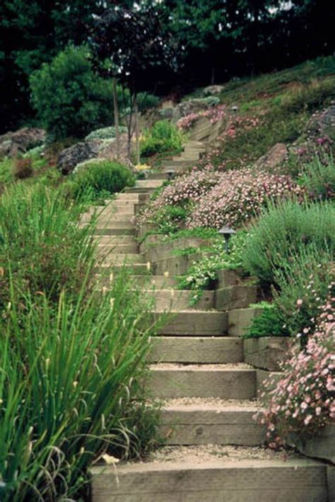 easy landscaping ideas for slopes side yard landscaping ideas steep hillside stairs make