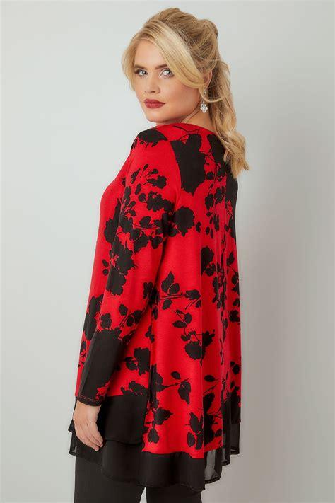 Hem Black Flower black floral print top with chiffon hem plus size 16 to 36