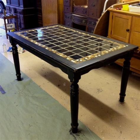 tiled bench tops antique black tile top table furniture pinterest