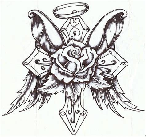 angel winged cross and rose flower tattoo