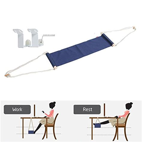 Jun Q Navy Canvas Foot Rest Desk Hammock Mini Office Under Office Foot Rest Desk
