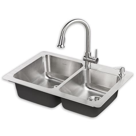 Small Kitchen Faucet montvale 33 x 22 kitchen sink with faucet american standard