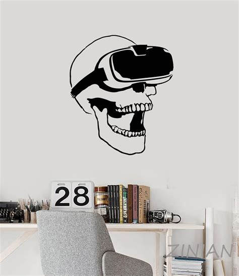 skull vr headset virtual reality gamer video game wall