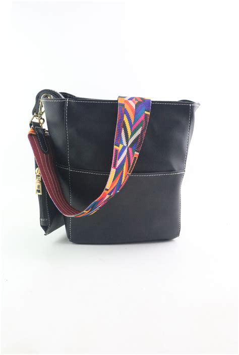 Leather Patchwork Purse - black patchwork leather wide bag with purse