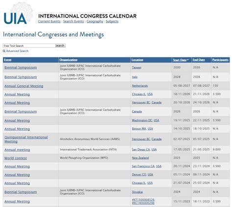 intern search the international congress calendar union of