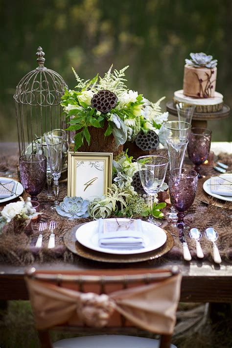 Enchanted Forest Table Decorations by Forest Wedding Inspiration Grace
