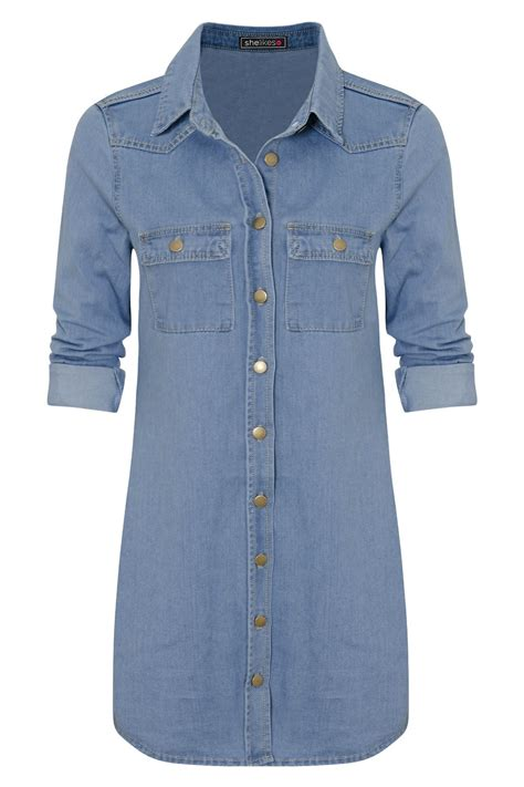 Denim Jn womens casual cotton button vintage sleeve denim jean shirt dress ebay