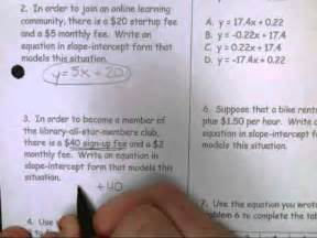 11 16 lifework slope intercept form word problems youtube