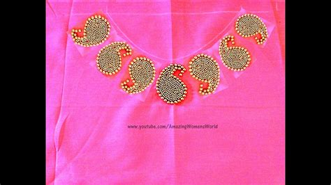boat neck hand embroidery designs hand embroidery mango beads boat neck design amazing