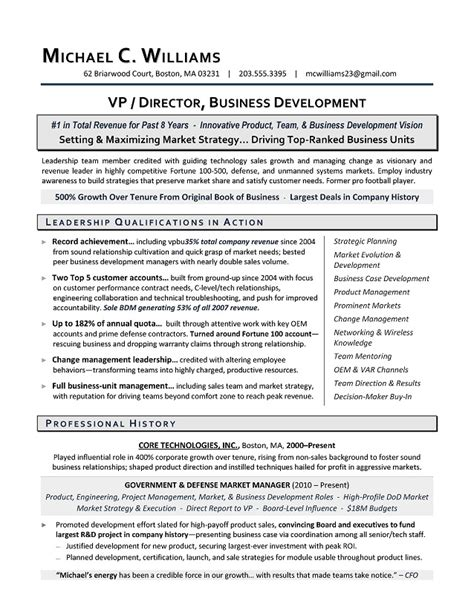 resume sle for business development executive business development resume resume template 2017